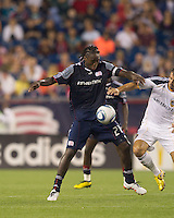 New England Revolution midfielder Shalrie Joseph (21) traps the ball. The New England Revolution defeated LA Galaxy, 2-0, at Gillette Stadium on July 10, 2010.