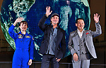 "(L-R)Former astronaut Naoko Yamazaki, actor Brad Pitt and former astronaut Mamoru Mouri attend the press conference for ""Ad Astra"" at the National Museum of Emerging Science and Innovation, Miraikan in Tokyo, Japan on September 12, 2019. (Photo by AFLO)"