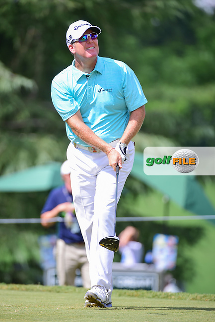 D.A. Points (USA) watches his tee shot on 9 during Friday's round 2 of the PGA Championship at the Quail Hollow Club in Charlotte, North Carolina. 8/11/2017.<br /> Picture: Golffile | Ken Murray<br /> <br /> <br /> All photo usage must carry mandatory copyright credit (&copy; Golffile | Ken Murray)