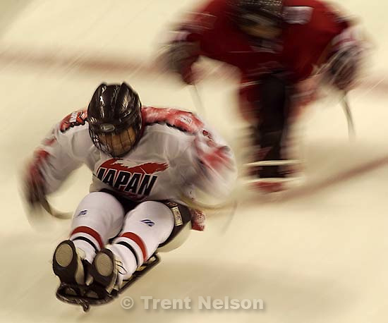 Canada vs. Japan, Sledge Hockey, 2002 Winter Paralympic Games Tuesday afternoon at the E Center. ; 03.12.2002, 3:18:34 PM<br />