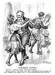 """Congress Dances."" John Bull. ""Capital waltz, 'The Blue Danube.'"" Madam La France. ""Or, since you and I understand one another so well, perhaps one might call it The Red-White-and-Blue Danube.'"" (Germany looks on jealously at France and Britain while dancing with Italy)"