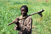 Chipundu, Zambia. Young man carrying an adze to the fields.