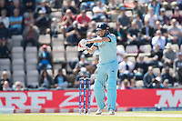Jonny Bairstow (England) prepares to cut a short delivery from Oshane Thomas (West Indies) during England vs West Indies, ICC World Cup Cricket at the Hampshire Bowl on 14th June 2019
