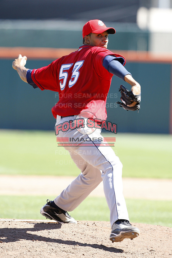May 21, 2009:  Relief Pitcher Rafael Perez of the Columbus Clippers, International League Triple-A affiliate of the Cleveland Indians, delivers a pitch during a game at Coca-Cola Field in Buffalo, NY.  Photo by:  Mike Janes/Four Seam Images