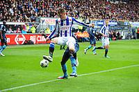 VOETBAL: HEERENVEEN: Abe Lenstra Stadion, SC Heerenveen - Feyenoord, 06-05-2012, Jeffrey Gouweleeuw (#3) in duel om de bal, Eindstand 2-3, ©foto Martin de Jong