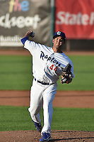 Ogden Raptors starting pitcher Bernardo Reyes (44) delivers a pitch to the plate against the Great Falls Voyagers in Pioneer League action at Lindquist Field on July 16, 2014 in Ogden, Utah.  (Stephen Smith/Four Seam Images)