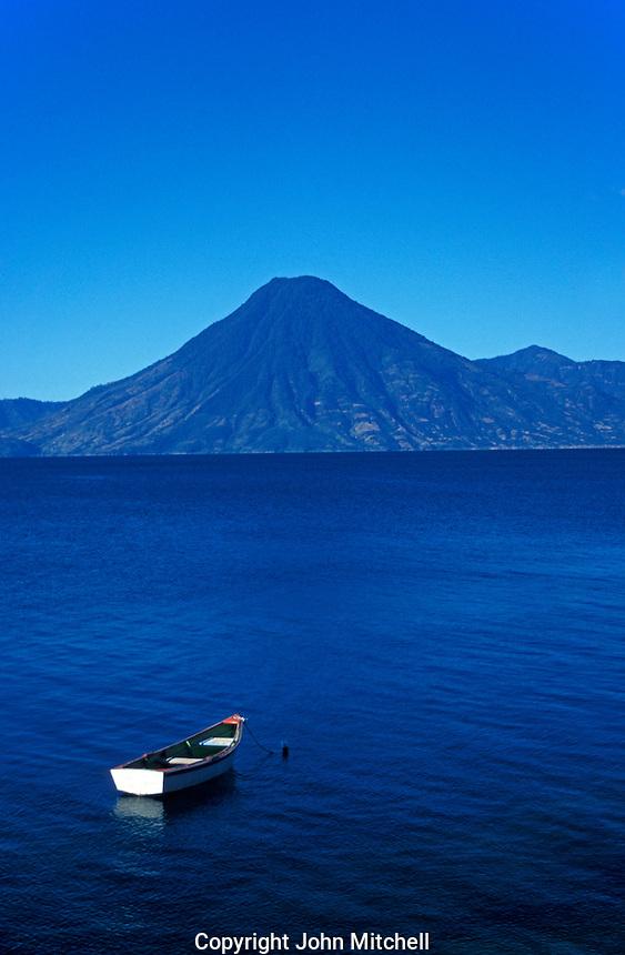 Boat anchored in Lake Atitlan, Guatemala