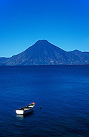 Boat anchored in Lake Atitlan, Guatemala