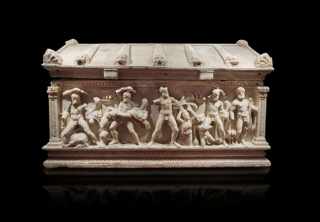Roman relief sculpted Herakles (Hercules)  sarcophagus, 2nd century AD, Perge, inv 2017/400. Antalya Archaeology Museum, Turkey. Against a black background.