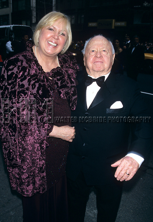 Mickey Rooney and wife attend Liza Minelli and David Gest's wedding held at Marble Collegiate Church in New York City on March 16th, 2002.