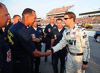 May 2, 2008; Richmond, VA, USA; NASCAR Nationwide Series driver Brad Keselowski greets sailors during the Lipton Tea 250 at the Richmond International Raceway. Mandatory Credit: Mark J. Rebilas-