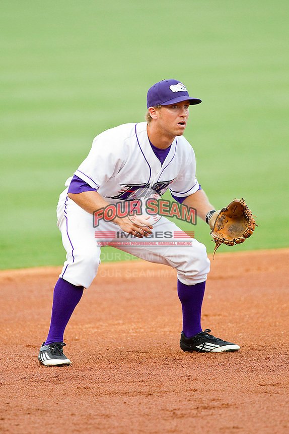 Third baseman Austin Yount #4 of the Winston-Salem Dash on defense against the Lynchburg Hillcats at BB&T Ballpark on August 15, 2011 in Winston-Salem, North Carolina.  The Dash defeated the Hillcats 10-0 in the completion of a game suspended on June 28, 2011.   Brian Westerholt / Four Seam Images