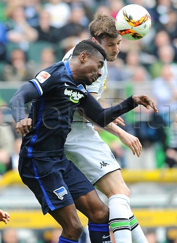 03.04.2016. Monchengladbach, Germany.  Bundesliga Football. Borussia Monchengladbach versus Hertha Berlin.  Salomon Kalou (Hertha), Havard Nordtveit (Gladbach)