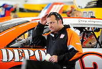 Feb. 27, 2009; Las Vegas, NV, USA; NASCAR Sprint Cup Series crew chief Greg Zipadelli during practice for the Shelby 427 at Las Vegas Motor Speedway. Mandatory Credit: Mark J. Rebilas-