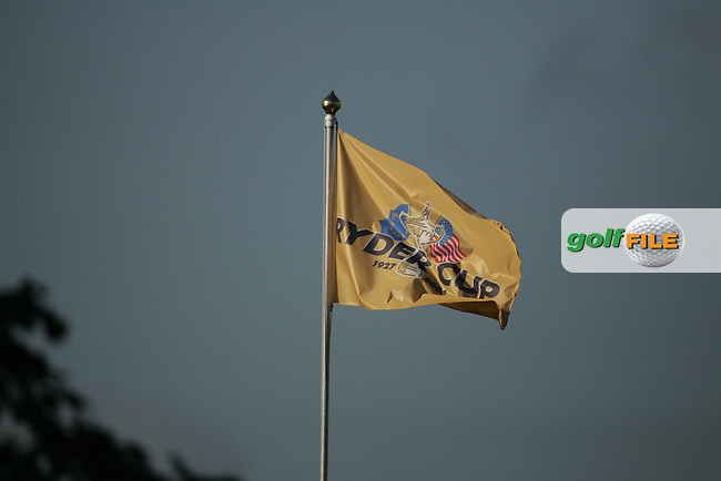 Straffin Co Kildare Ireland. K Club Ruder Cup...Ryder Cup flags fly high as the opening fourball session of the first day of the 2006 Ryder Cup, at the K Club in Straffan, Co Kildare, in the Republic of Ireland, 22 September 2006..Photo: Fran Caffrey/ Newsfile..