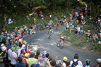 race leaders coming down the  Grand Colombier (HC/1501m/12.8km/6.8%): Jarlinson Pantano (COL/IAM), Rafal Majka (POL/Tinkoff), Julian Alaphilippe (FRA/Etixx-QuickStep) &amp; Ilnur Zakarin (RUS/Katusha)<br /> <br /> stage 15: Bourg-en-Bresse to Culoz (160km)<br /> 103rd Tour de France 2016