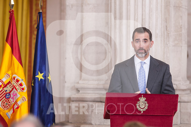 King Felipe VI of Spain during the 2014 Spanish Investigation Awards at Royal Palace in Madrid, Spain. January 15, 2015. (ALTERPHOTOS/Victor Blanco)