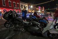 At the Austin ROT Rally Biker Rally. There's Harley Davidson's everywhere. Motorcycle enthusiasts love to come look at thousands of custom motorcycles parked along 6th Street Bar District in downtown Austin, Texas.