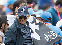 A reasonably 'lone' black caps flag in the crowd during India vs New Zealand, ICC World Cup Semi-Final Cricket at Old Trafford on 9th July 2019