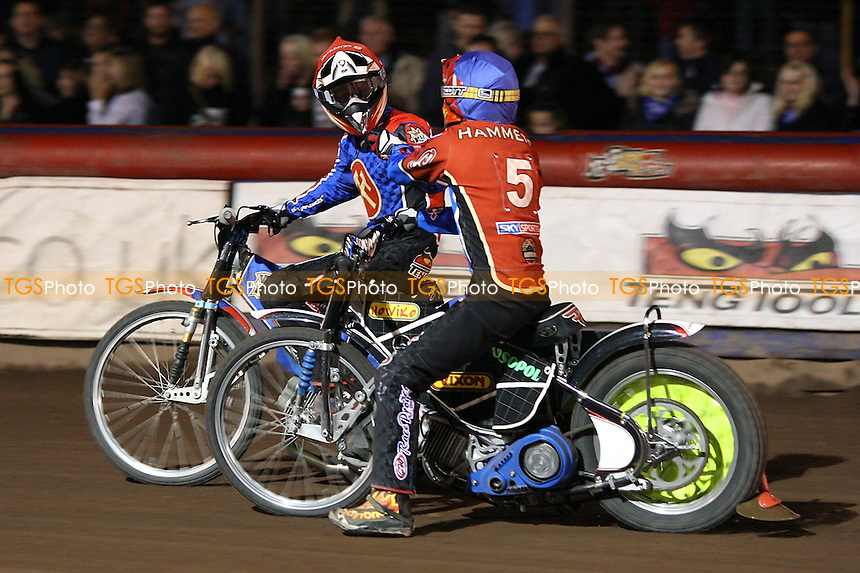 Heat 13: Andreas Jonsson (red) and Tomasz Jedrzejak (blue) celebrate a vital 5-1 - Lakeside Hammers vs Poole Pirates - Sky Sports Elite League Play-Off Grand Final, First Leg at Arena Essex, Purfleet - 06/10/08 - MANDATORY CREDIT: Gavin Ellis/TGSPHOTO - Self billing applies where appropriate - 0845 094 6026 - contact@tgsphoto.co.uk - NO UNPAID USE.