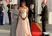 U.S. President Barack Obama (R) shakes hands with Denmark's Prime Minister Lars Lokke Rasmussen, as First Lady Michelle Obama (2nd,L), shakes hands with his spouse, Solrun Lokke Rasmussen, as they welcome them for a State Dinner of Nordic leaders, at the White House, May 13, 2016, in Washington, DC.       <br /> Credit: Mike Theiler / Pool via CNP