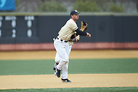 Wake Forest Demon Deacons third baseman Bruce Steel (17) makes a throw to first base against the Notre Dame Fighting Irish at David F. Couch Ballpark on March 10, 2019 in  Winston-Salem, North Carolina. The Demon Deacons defeated the Fighting Irish 7-4 in game one of a double-header.  (Brian Westerholt/Four Seam Images)