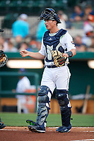 Lakeland Flying Tigers catcher Austin Athmann (19) during a game against the Tampa Tarpons on April 5, 2018 at Publix Field at Joker Marchant Stadium in Lakeland, Florida.  Tampa defeated Lakeland 4-2.  (Mike Janes/Four Seam Images)