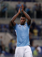 Calcio, Serie A: Lazio vs Bologna. Roma, stadio Olimpico, 22 agosto 2015.<br /> Lazio&rsquo;s Keita Diao greets fans at the end of the Italian Serie A football match between Lazio and Bologna at Rome's Olympic stadium, 22 August 2015. Lazio won 2-1.<br /> UPDATE IMAGES PRESS/Isabella Bonotto