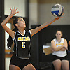 Wantagh No. 5 Olivia D'Antonio serves during a Nassau County varsity girls' volleyball match against South Side at Wantagh High School on Friday, October 23, 2015. Wantagh won 25-15, 25-17, 28-26.<br /> <br /> James Escher