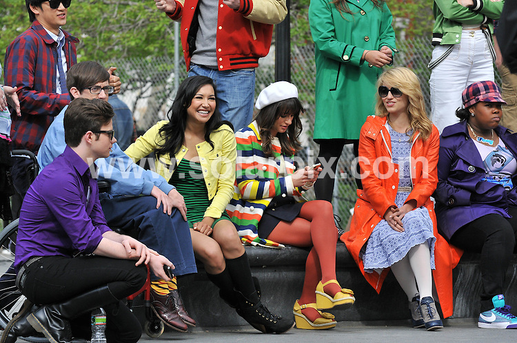"**ALL ROUND PICTURES FROM SOLARPIX.COM**                                             **SYNDICATION RIGHTS FOR UK, AUSTRALIA, DENMARK, PORTUGAL, S. AFRICA, SPAIN & DUBAI (U.A.E) & ASIA (EXCLUDING JAPAN) ONLY**                                                                                  Caption:  American TV series ""Glee"" Filming at Washington Square Park in New York City on April 29, 2011 - Washington Square Park  - New York City, NY, USA                                                                               .This pic:  Lea Michele, Heather Morris, Dianna Agron, Amber Riley, Jenna Ushkowitz                                                                                             JOB REF: 13245       PHZ /Santoro      DATE: 30.04.2011                                                           **MUST CREDIT SOLARPIX.COM OR DOUBLE FEE WILL BE CHARGED**                                                                      **MUST AGREE FEE BEFORE ONLINE USAGE**                               **CALL US ON: +34 952 811 768 or LOW RATE FROM UK 0844 617 7637**"