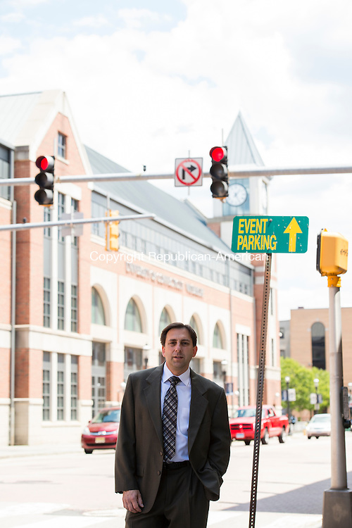 WATERBURY, CT- 23 June 2016-062316EC03-   Joseph W. Gramando, the President of KayBar Development Corp, stands in front of UCONN in downtown and next to the Brown Building. The space will be redeveloped into student dorms. Developers hope to have it renovated by next fall. Erin Covey Republican-American