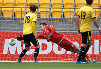 Zac Jones is beaten for the equaliser during the ISPS Handa Premiership football match between Wellington Phoenix Reserves and Southern United at Sky Stadium in Wellington, New Zealand on Saturday, 11 January 2020. Photo: Dave Lintott / lintottphoto.co.nz