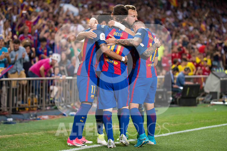 FC Barcelona's forward Neymar Santos Jr, forward Leo Messi and forward Paco Alcacer celebrating a goal during Copa del Rey (King's Cup) Final between Deportivo Alaves and FC Barcelona at Vicente Calderon Stadium in Madrid, May 27, 2017. Spain.<br /> (ALTERPHOTOS/BorjaB.Hojas)