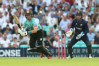 Ollie Pope in batting action for Surrey as Adam Wheater looks on from behind the stumps during Surrey vs Essex Eagles, Vitality Blast T20 Cricket at the Kia Oval on 12th July 2018