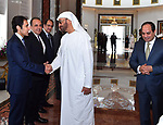 Abu Dhabi Crown Prince Mohammed bin Zayed al-Nahyan shakes hands with Egyptian officials before Egyptian President Abdel Fattah al-Sisi leaves Abu Dhabi, on February 07, 2018. Photo by Egyptian President Office
