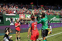 Portland, OR - Saturday July 15, 2017: Hayley Raso, Adrianna Franch during a regular season National Women's Soccer League (NWSL) match between the Portland Thorns FC and the North Carolina Courage at Providence Park.