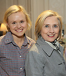Hillary Clinton backstage with Alison Pill from the cast of 'Edward Albee's Three Tall Women' at the John Golden Theatre on June 5, 2018 in New York City.