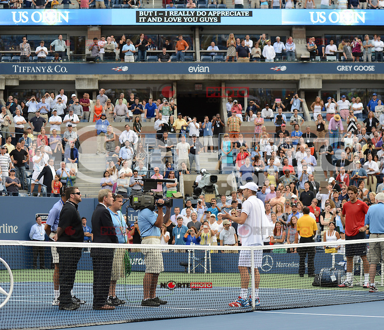 FLUSHING NY- SEPTEMBER 5: Andy Roddick reacts after losing his last match to Juan Martin Del Potro on Armstrong stadium at the USTA Billie Jean King National Tennis Center on September 5, 2012 in in Flushing Queens. Credit: mpi04/MediaPunch Inc. ***NO NY NEWSPAPERS*** /NortePhoto.com<br /> <br /> **CREDITO*OBLIGATORIO** *No*Venta*A*Terceros*<br /> *No*Sale*So*third* ***No*Se*Permite*Hacer...<br /> more &raquo;