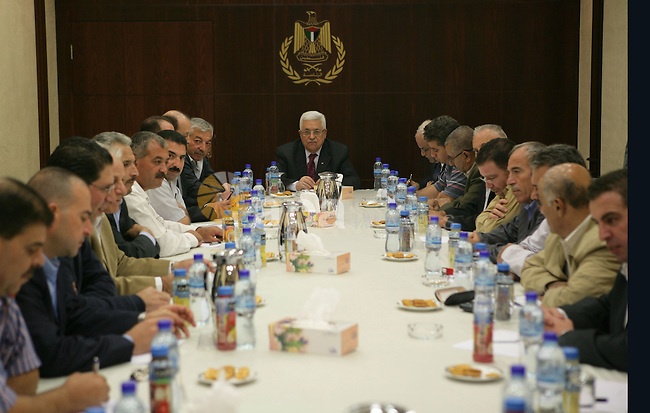 Palestinian President Mahmoud Abbas (Abu Mazen) during a meeting of Trustees of the mystery of the regions, of the Fatah movement in the West Bank city of Ramallah on Nov. 15,2010 . Photo by Thaer Ganaim