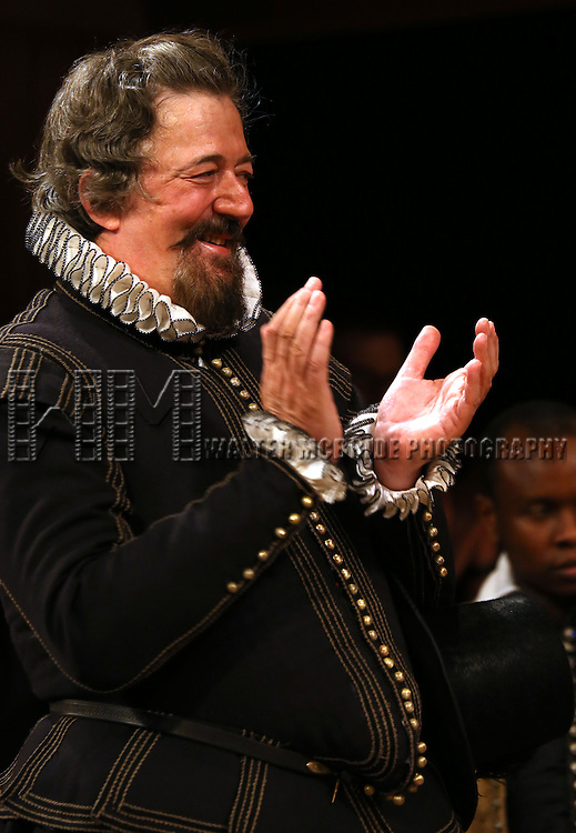 Stephen Fry during the Broadway Opening Night Performance Curtain Call for 'Twelfth Night' at the Belasco Theatre on November 10, 2013 in New York City.