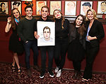 Laura Osnes, Corey Cott, Ben Platt, Kathryn Gallagher, Beanie Feldstein and Kelli O'Hara attends the Ben Platt Sardi's Portrait unveiling at Sardi's on May 30, 2017 in New York City.