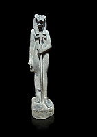 "Ancient Egyptian statue of goddess Sekhmet, grandodiorite, New Kingdom, 18th & 20thDynasty (1390-1150 BC), Thebes. Egyptian Museum, Turin. black background.<br /> <br /> Sekhmet, ""the Powerful One"" was a fearsome goddess symbolised by her lioness head. Daughter of the sun she personifies the disk of the world during the day. Sekhmet is the angry manifestation of Hathor inflicting the scourges of summer heat, famine and illness which is why the goddess needed to be exorcised every day. Drovetti Collection. C 255"