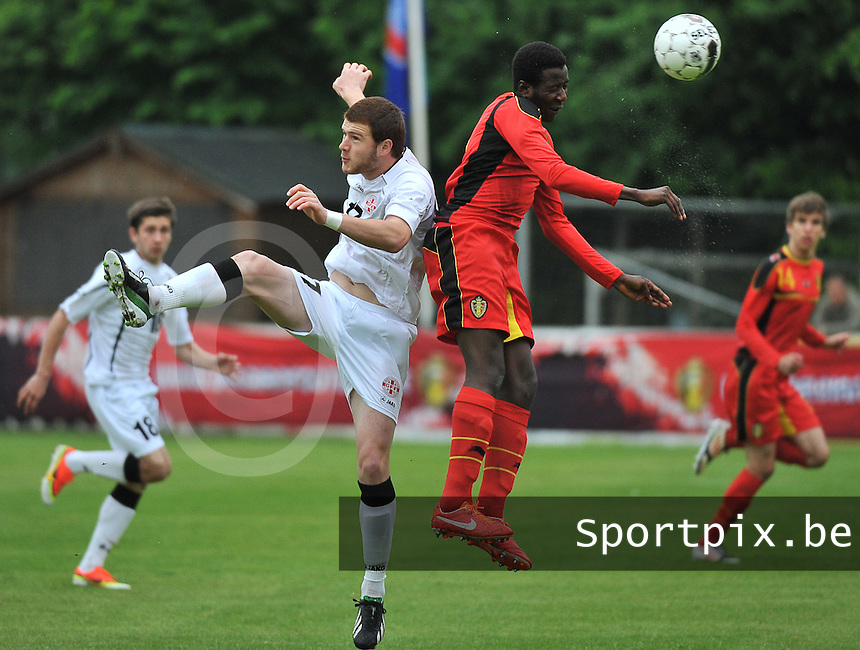 Georgia U19 - Belgium U19 : Budu Zivzivadze (17) and David Iboma (2)<br /> foto DAVID CATRY / Nikonpro.be