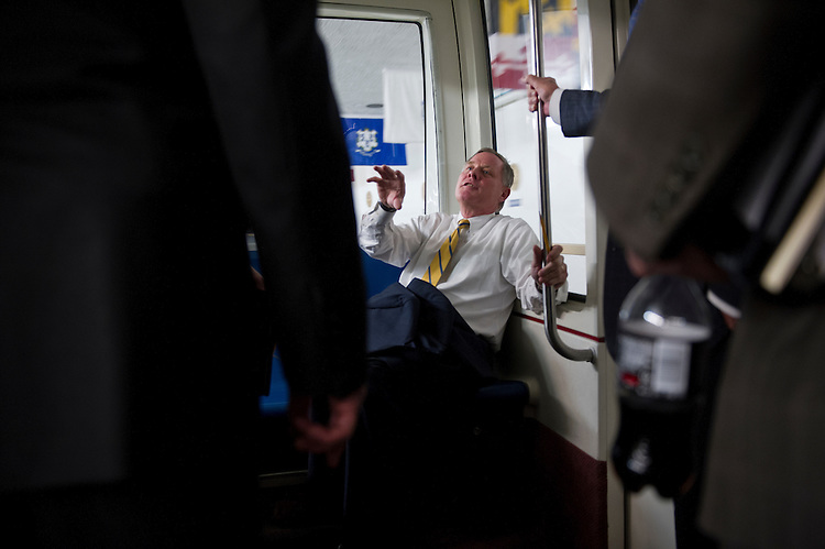 UNITED STATES - Oct 30: Senator Richard Burr, R-NC., (C) talks to Lamar Alexander, R-TN., and David Vitter, R-LA., on the Senate subway on the way to the U.S. Capitol on October 30, 2013. (Photo By Douglas Graham/CQ Roll Call)