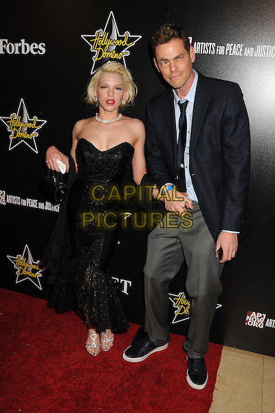 guest & Vince Offer, ShamWow.5th Annual Hollywood Domino Gala & Tournament held at the Sunset Tower Hotel, West Hollywood, California, USA..February 23rd, 2012.full length strapless dress suit jacket shirt black grey gray  .CAP/ADM/BP.©Byron Purvis/AdMedia/Capital Pictures.
