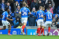 Marcus Harness of Portsmouth right celebrates after scoring the first goal during Portsmouth vs AFC Wimbledon, Sky Bet EFL League 1 Football at Fratton Park on 11th January 2020