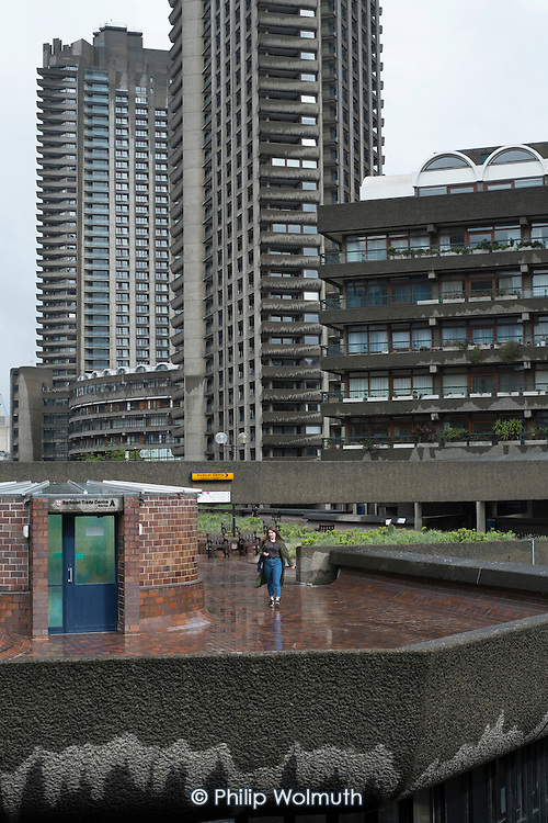 Residential tower blocks on the Barbican estate, London.