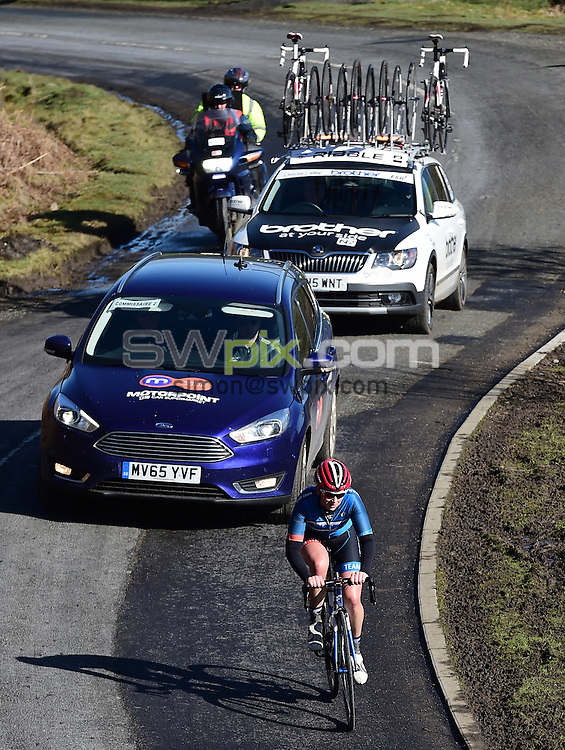 Picture by Alex Broadway/SWpix.com - 17/04/2016 - Cycling - British Cycling Women's Road Series - 2016 Alexandra Tour of the Reservoir - Edmundbyers, England - Jo Tindley of Team WNT makes an early break.