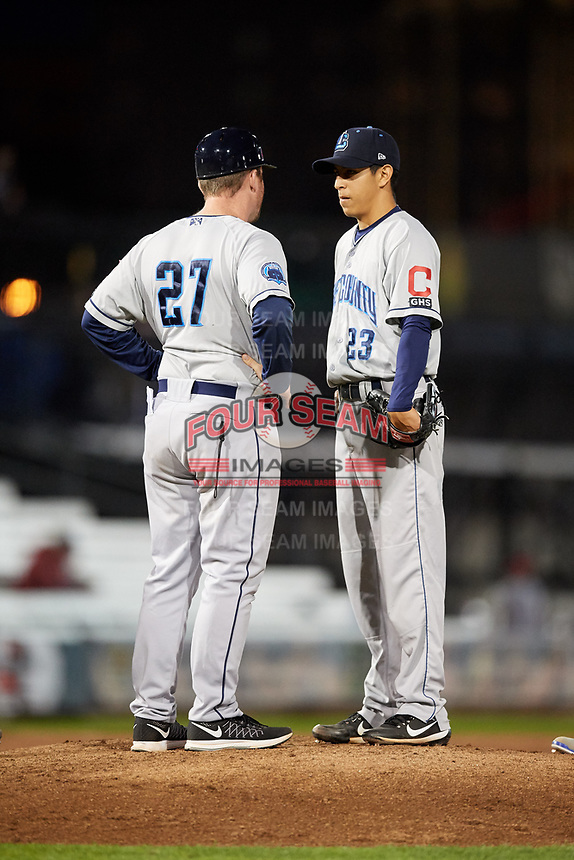 Lake County Captains starting pitcher Justin Garza (23) and manager Larry Day (27) during a game against the Quad Cities River Bandits on May 6, 2017 at Modern Woodmen Park in Davenport, Iowa.  Lake County defeated Quad Cities 13-3.  (Mike Janes/Four Seam Images)