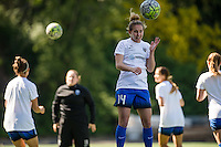 Seattle, WA - Sunday, May 1, 2016: Seattle Reign FC forward Manon Melis (14) goes up for a header during warm-ups prior to a National Women's Soccer League (NWSL) match at Memorial Stadium.